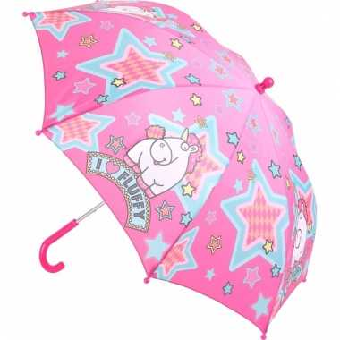 Fluffy kinder paraplu roze