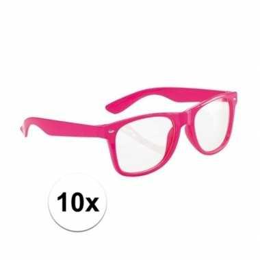 Fluor brillen roze voor volwassenen set van 10