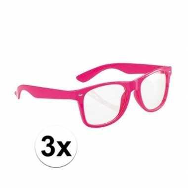 Fluor brillen roze voor volwassenen set van 3