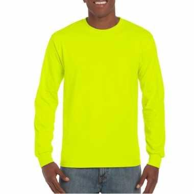 Fluoriserend gele t-shirt lange mouwen van gildan