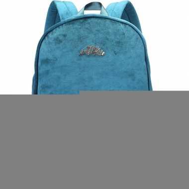 Fluwelen rugzak/schooltas petrol blauw/groen 32 x 42 cm