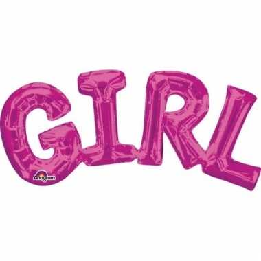 Folie ballon girl roze 55 cm