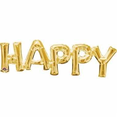Folie ballon happy goud 76 cm