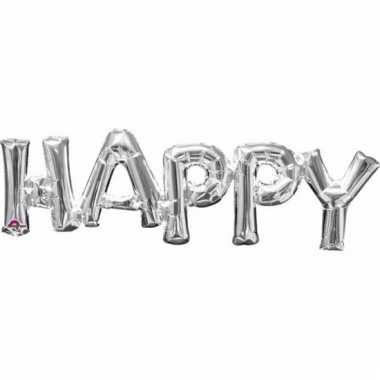 Folie ballon happy zilver 76 cm