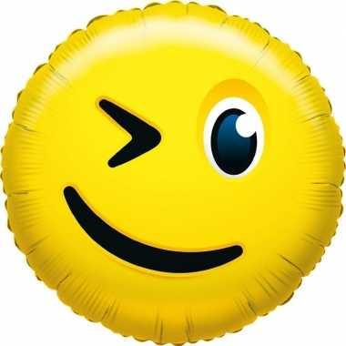 Folie ballon knipoog smiley 35 cm
