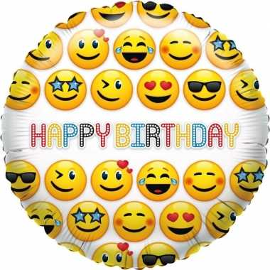 Folie ballon smiley verjaardag 35 cm