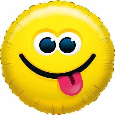 Folie ballon tong uitsteken smiley 35 cm