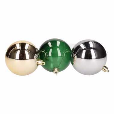 Forest christmas kerstboomversiering groen/gouden/zilveren ballen 7 c