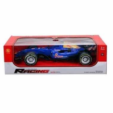 Formule 1 race auto met licht en geluid blauw 32 cm