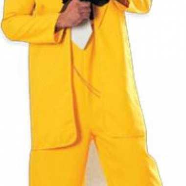 Foto bord van een gangster in geel pak