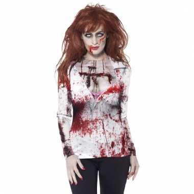 Fotorealistisch halloween zombie shirt voor dames