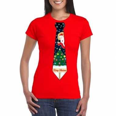 Fout kerst t-shirt rood met kerstboom stropdas voor dames