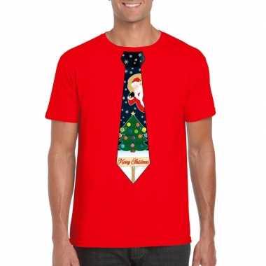 Fout kerst t-shirt rood met kerstboom stropdas voor heren