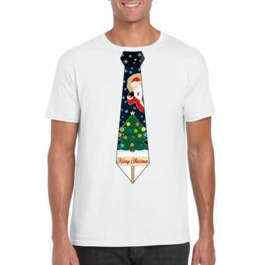 Fout kerst t-shirt wit met kerstboom stropdas voor heren