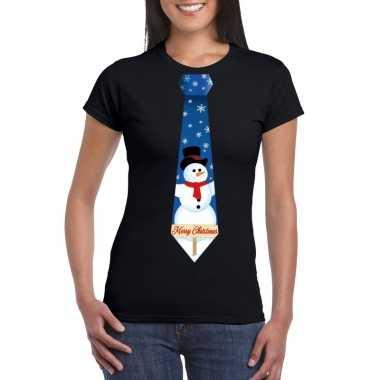 Fout kerst t-shirt zwart met sneeuwpop stropdas voor dames