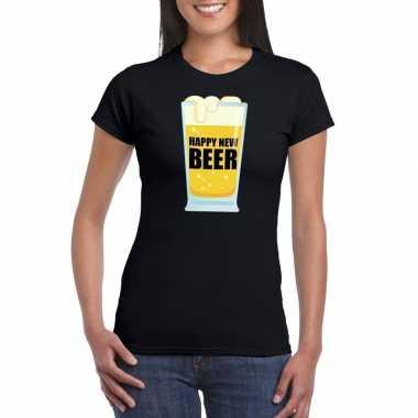 Fout oud en nieuw t-shirt happy new beer / year zwart voor dames