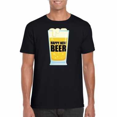 Fout oud en nieuw t-shirt happy new beer / year zwart voor heren