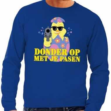 Fout paas sweater blauw donder op met je pasen voor heren