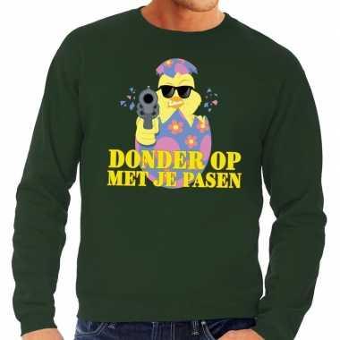 Fout paas sweater groen donder op met je pasen voor heren