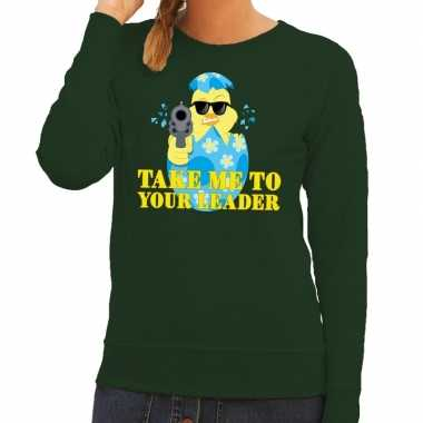 Fout paas sweater groen take me to your leader voor dames