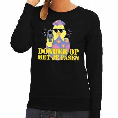Fout paas sweater zwart donder op met je pasen voor dames