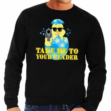 Fout paas sweater zwart take me to your leader voor heren