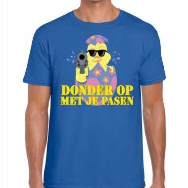 Fout paas t-shirt blauw donder op met je pasen voor heren