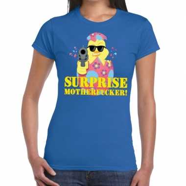 Fout paas t-shirt blauw surprise motherfucker voor dames