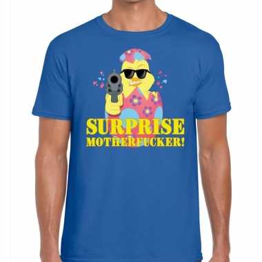 Fout paas t-shirt blauw surprise motherfucker voor heren