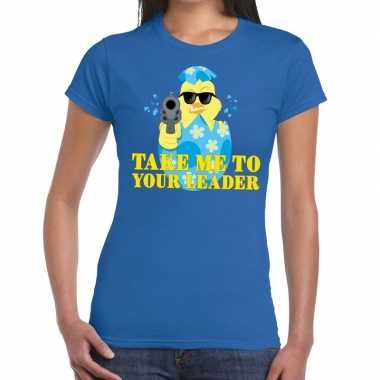 Fout paas t-shirt blauw take me to your leader voor dames
