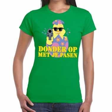 Fout paas t-shirt groen donder op met je pasen voor dames