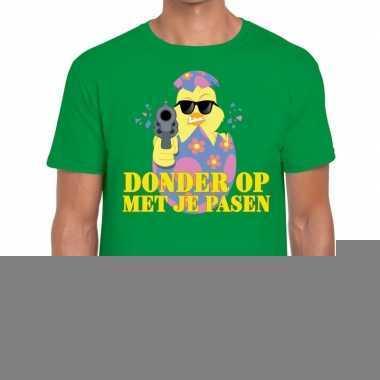 Fout paas t-shirt groen donder op met je pasen voor heren