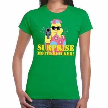 Fout paas t-shirt groen surprise motherfucker voor dames