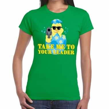Fout paas t-shirt groen take me to your leader voor dames