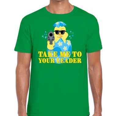 Fout paas t-shirt groen take me to your leader voor heren