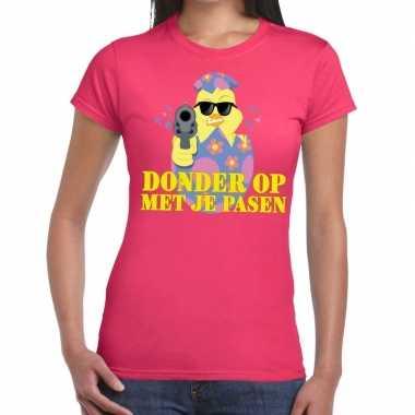 Fout paas t-shirt roze donder op met je pasen voor dames
