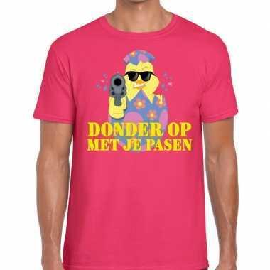 Fout paas t-shirt roze donder op met je pasen voor heren