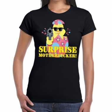 Fout paas t-shirt zwart surprise motherfucker voor dames