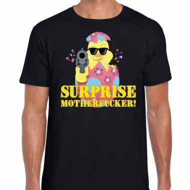 Fout paas t-shirt zwart surprise motherfucker voor heren