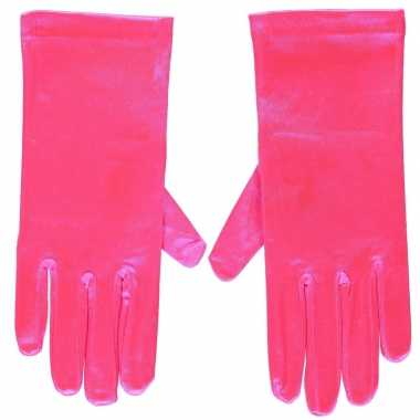 Fuchsia roze gala handschoenen kort van satijn 20 cm
