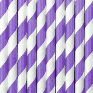 Gestreepte rietjes lila paars/wit
