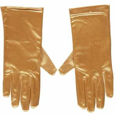 Gouden gala handschoenen kort van satijn 20 cm