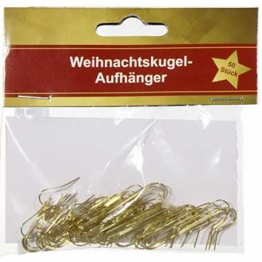 Gouden haakjes voor kerstballen 50 stuks