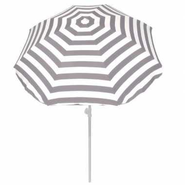 Grijs gestreepte zomer parasol 180 cm