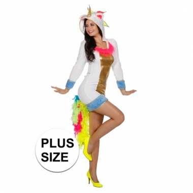 Grote maten carnaval outfit eenhoorn voor dames
