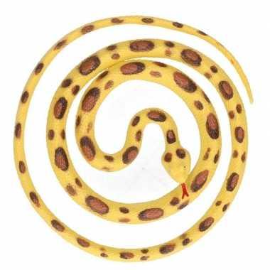 Grote rubberen speelgoed python slangen geel/bruin 137 cm