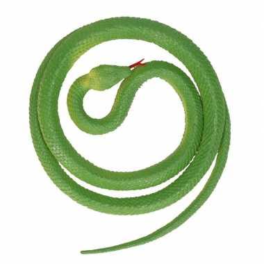Grote rubberen speelgoed python slangen groen 137 cm