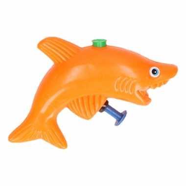 Haai waterpistool oranje 9 cm
