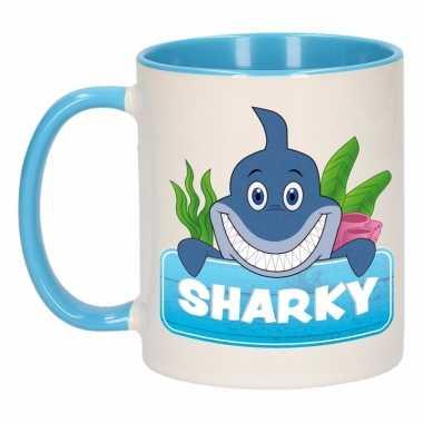 Haaien ontbijtbeker blauw / wit voor kinderen 300 ml