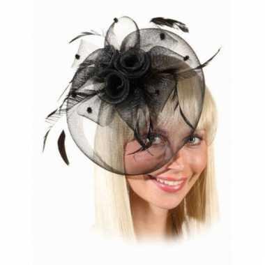 Haar sieraad kleine hoed zwart op kam